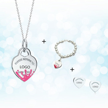 Sterling Silver 925 Classic Pop Fashion Pink Enamel Water Splash Heart Shaped Lady Necklace Set Holiday Gift