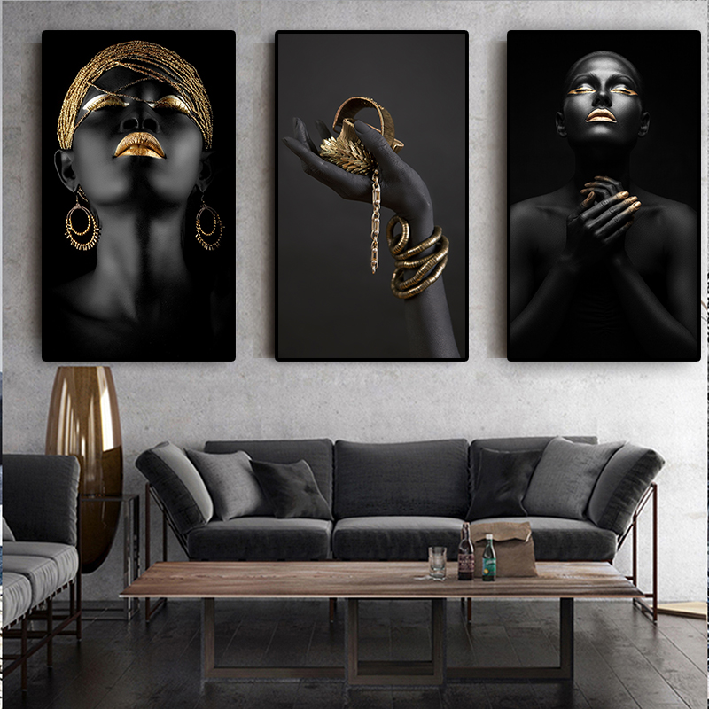 3 Panels Black Hand African Nude Contemplator Woman Oil Painting on Canvas Posters and Prints Wall Art Picture for Living Room(China)
