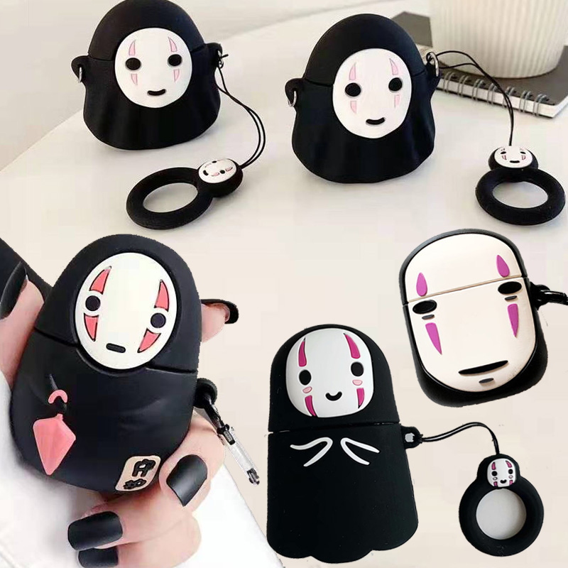 For Apple AirPods Faceless Man Case 3D Cute Kawaii Anime Cartoon No Face Man Wireless Earphone Protective Cover For Airpods 2