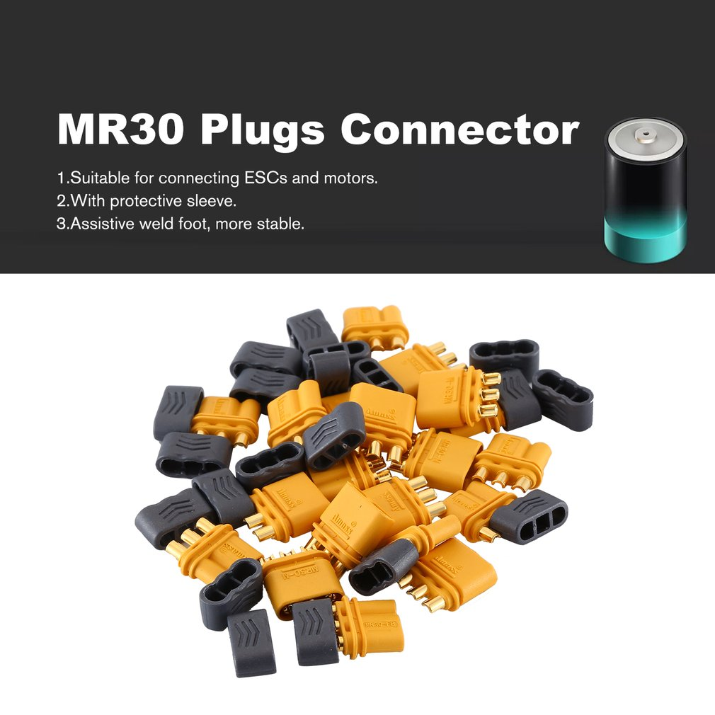 10Pair Amass Upgrated Connector MR30 Connector Plug Female and Male Connector Plugs For RC Airplane Multirotor Drone Plug|Parts & Accessories| |  - title=