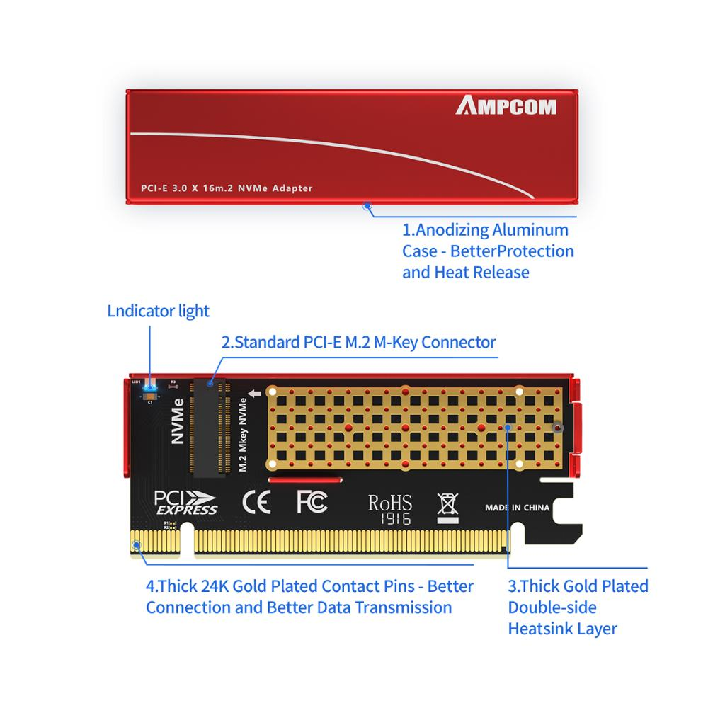Ampcom M.2 M Sleutel Nvme Ssd Pci-E Adapter, Pci Express X16 Kaart Met Aluminium Case, ondersteunt Windows 7/8/ 10 3
