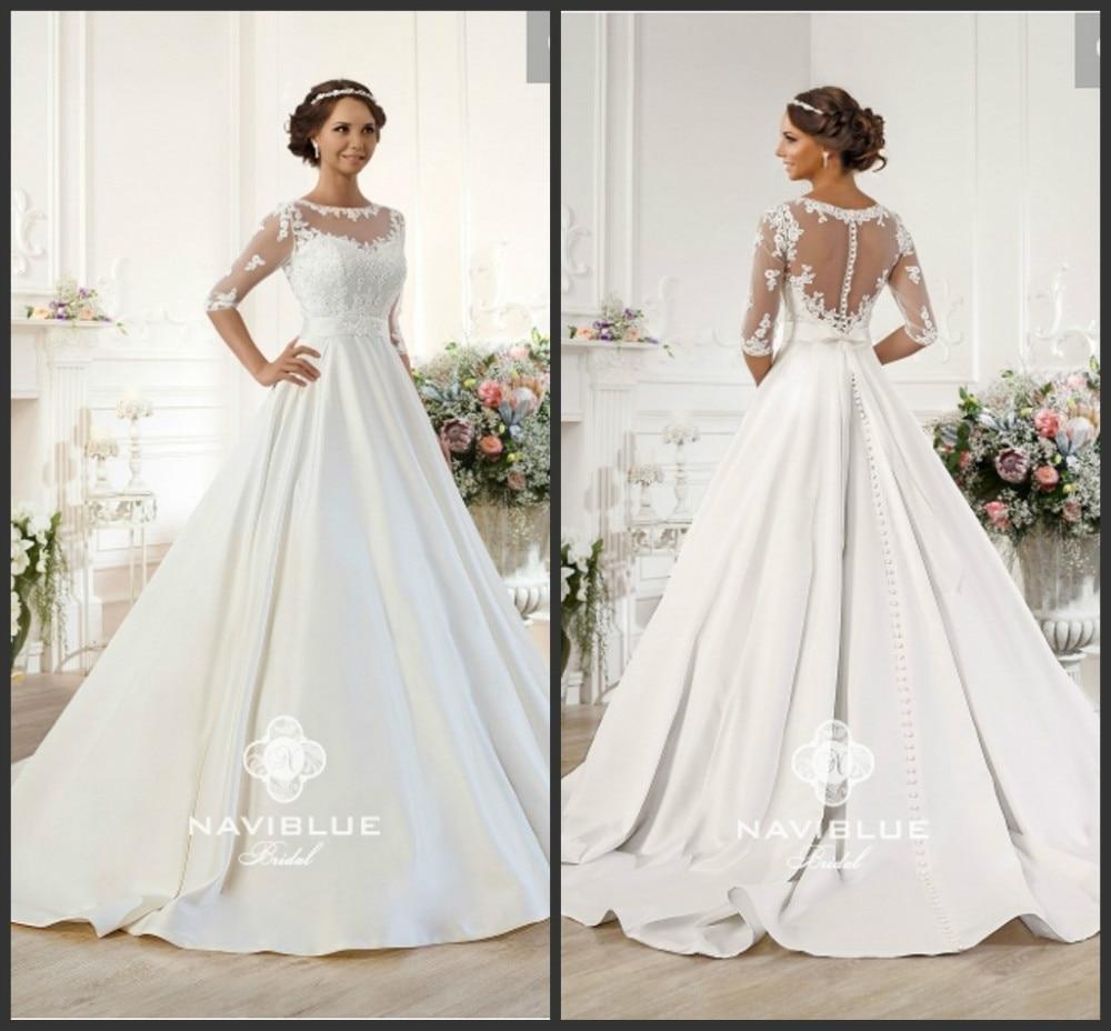Stunning A-line Lace Appliques Half Sleeve White Brides Bridal Gown Dubai 2018 Vestido De Noiva Mother Of The Bride Dresses