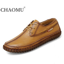 Spring mens casual leather shoes Korean trend peas shoes mens leather hand stitched soft bottom mens shoes