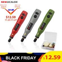 Newacalox máquina de moedura usb 5v dc 10w mini velocidade variável sem fio ferramentas rotativas kit broca gravador caneta para fresar polimento