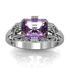 Women Fashion Purple Jewelry Rectangle Rhinestone Hollow Beads Design Engagement Ring Size6-10 rhinestone engagement hollow out ring