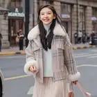 2019 winter new Korean version simple thickened lambhair plaid coat women's Hong Kong loose woolen coat jacket women