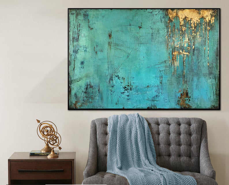 Large Canvas Wall Art Large Oil Painting Large Painting Blue