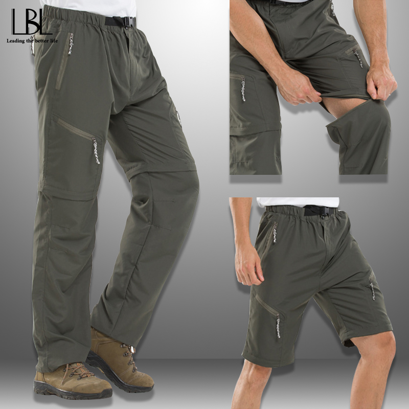 Quick-drying Pants Men Removable Outdoor Spring Summer Thin Breathable Long Cargo Pants Man Change To Shorts Multifunctional 3XL
