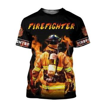Tessffel Firefighters Suit Firemen Causal Streetwear Hero Harajuku Unisex Hoodie 3DPrint Funny Summer Short Sleeves T-shirts A-2 1