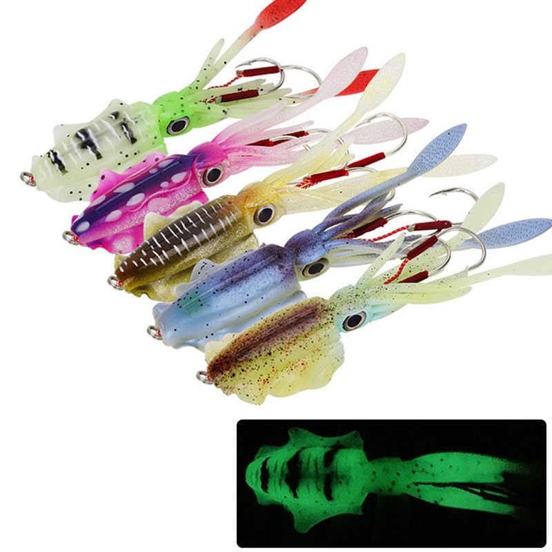 3 x Luminous Squid Jigs Sea Fishing Saltwater Fishing Lures Luminous Lures