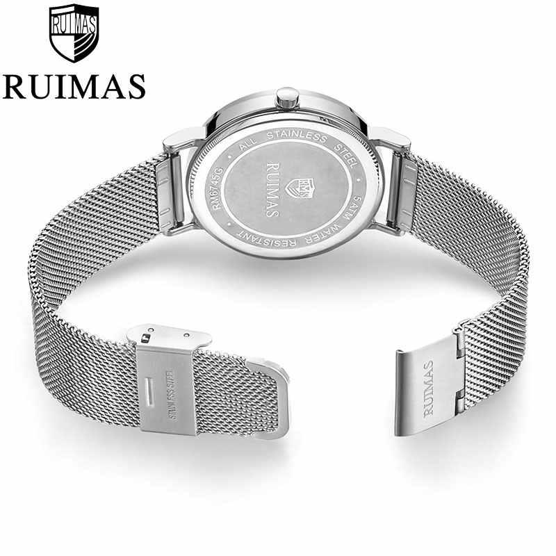 Ruimas 2019 Top marque hommes montres de luxe Ultra-mince en acier inoxydable montres décontracté Quartz montres homme horloge Reloj Hombre