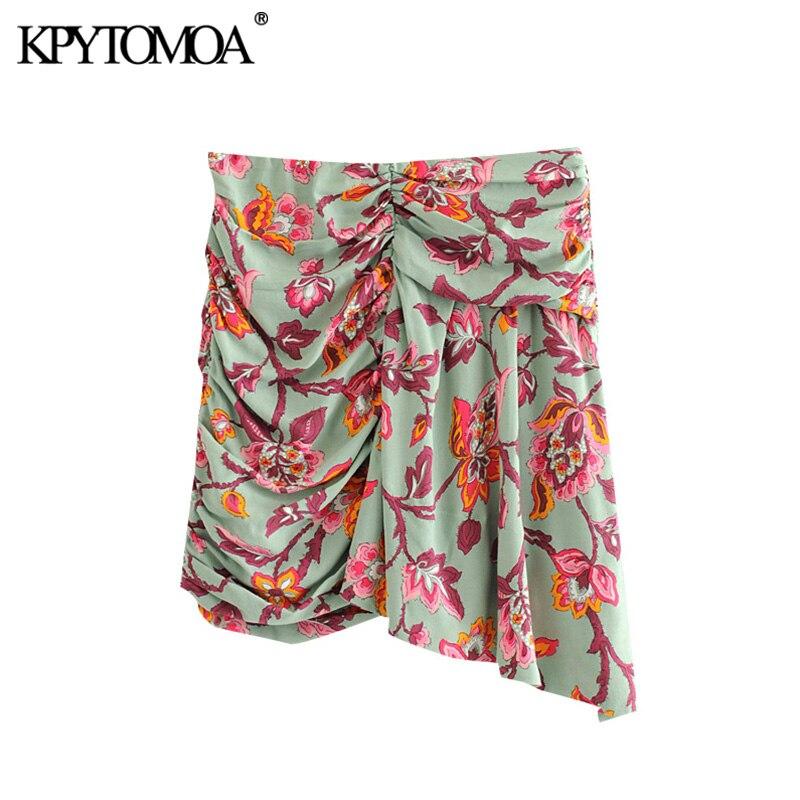 KPYTOMOA Women 2020 Chic Fashion Floral Print Draped Mini Skirt Vintage High Waist Side Zipper Female Skirts Casual Faldas Mujer
