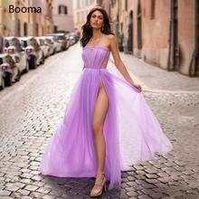 Сексуальное Лавандовое выпускное платье без бретелек с высоким
