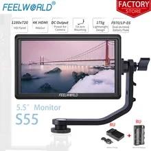Monitor Camera Tilt FEELWORLD Small Hdmi-Input Portable Full-Hd 4k S55 1280x720 Arm-Power