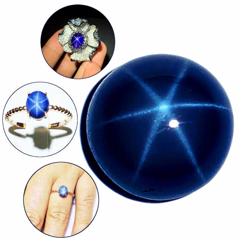 6 Rays Gemstones 6mm Natural Blue Star Sapphire Round Cabochon Loose Stone