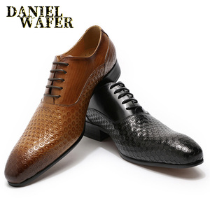 Image 1 - LUXURY BRAND MEN LEATHER SHOES GEOMETRIC PRINTS MEN OFFICE WEDDING FORMAL SHOES BLACK BROWN LACE UP POINTED TOE OXFORD SHOES MEN
