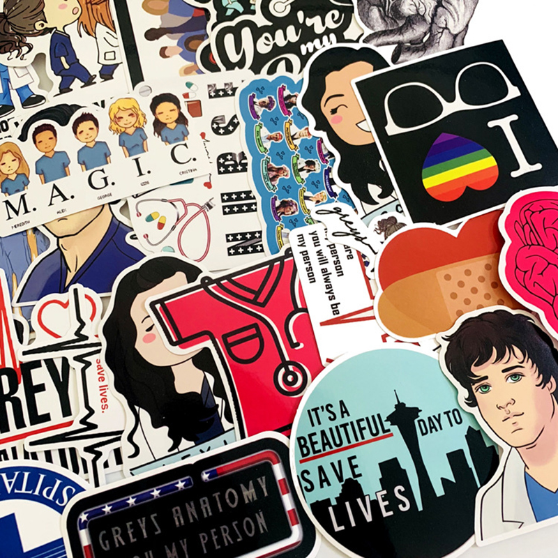 Image 4 - 50pcs TV Show Greys Anatomy Waterproof Stickers Kids Toy Sticker For DIY Luggage Laptop Skateboard Car Decor Funny Sticker F3-in Stickers from Toys & Hobbies