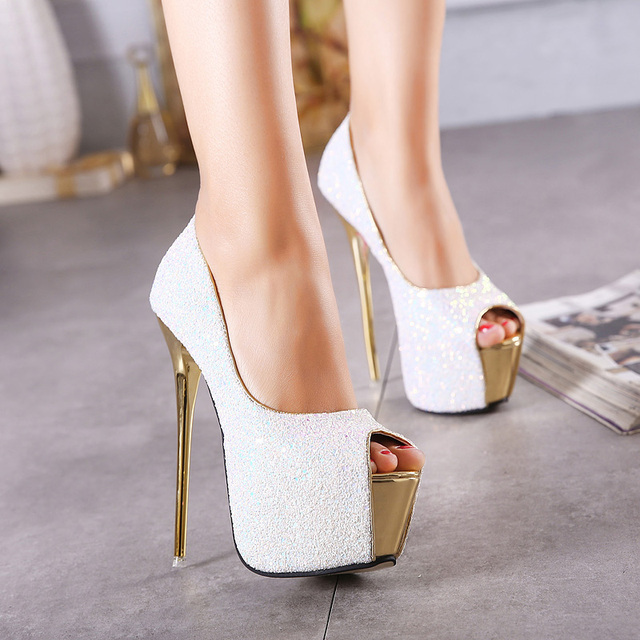 CJDLY New Party Dress Shoes Bling Sexy 16 CM Ultra High High-heeled Shoes Peep Toe Pumps Women Pumps Zapatos Mujer Size 34-40