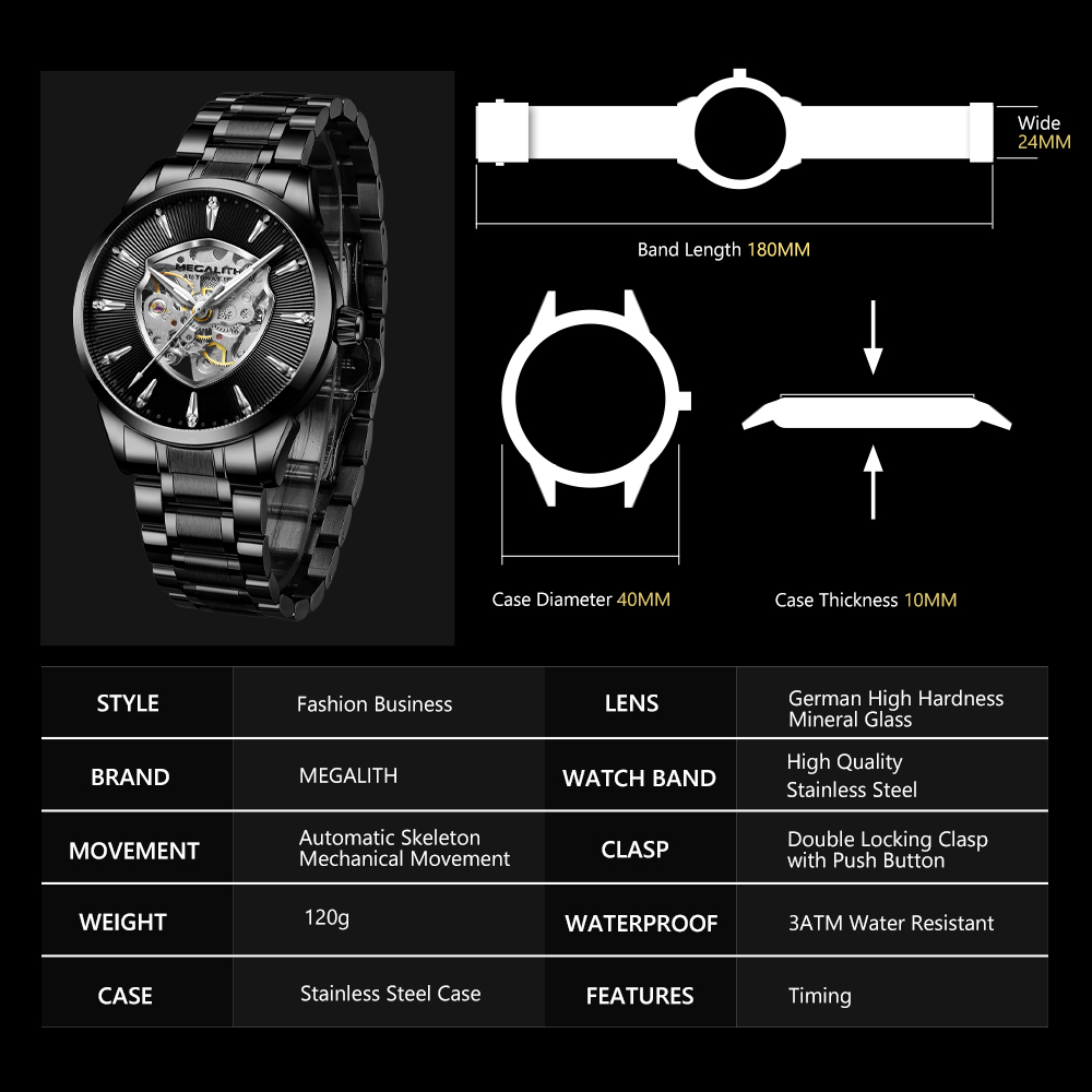 Closeout DealsΔMEGALITH Automatic Mechanical Men Watches Fashion Waterproof Sport Man Watch Luxury Stainless Man Clock Relogio Masculino 8210Mà