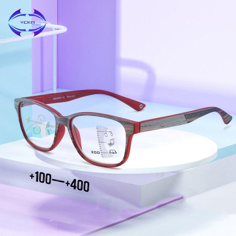 Vcka rogressive óculos de leitura multifocal masculino feminino anti luz azul óculos de madeira retro grão perto e distante + 1.0 a + 4.0