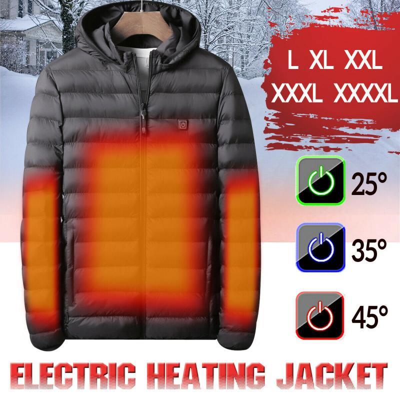 Winter Warm Heated Jacket Men Women USB Electric Heating Hooded Jacket Electric Heating Vest Waterproof Skiing Hiking Jacket