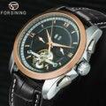 FORSINING Мужские механические наручные часы с кожаным ремешком Tourbillion Sub-dial Calendar циферблат золотой ободок Топ Бренд роскошные авто часы
