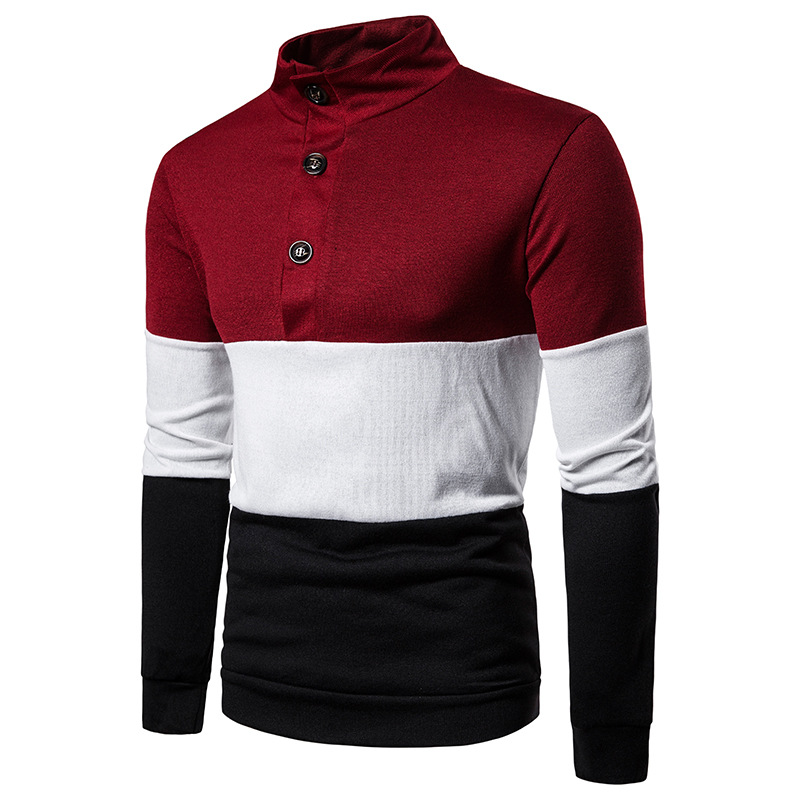 Contrast Color Turtleneck Sweater Men 2019 Brand Casual Pullover Mens Slim Fit Knitted Sweaters Autumn Winter Men Button Sweater