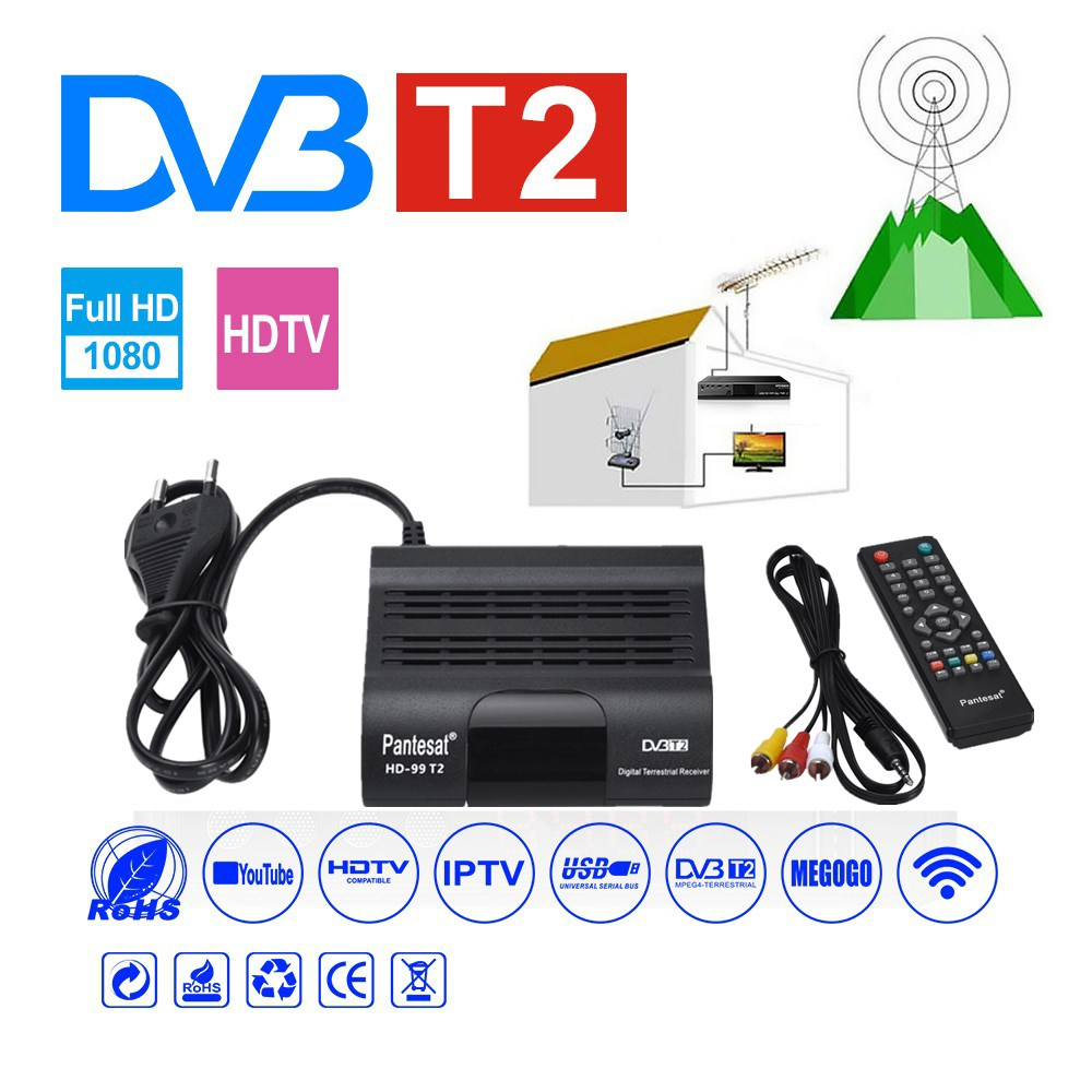 DVB HD-99 T2 Receiver Satellite Wifi Free Digital TV Box DVB T2 DVBT2 Tuner DVB C IPTV M3u Youtube Russian Manual Set Top Box
