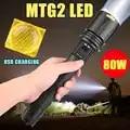 Nouveau lampe de poche LED 80W USB Rechargeable MTG2 LED Zoomable lumière étanche sécurité marteau lumière Super lumineux Camping lumière