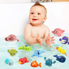 Bath Toys Baby Water Chain Clockwork Cute Cartoon Animal Tortoise Crab Classic Penguin Fish Wound-Up Kids Beach Water Bath Toy