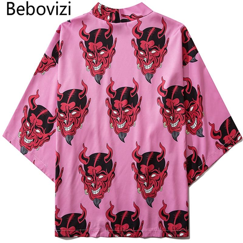 Bebovizi Japanese Demon Print Women Harajuku Cardigan Kimono Summer Loose Shirt Tops Casual Man Kimonos Coat Yukata Robe