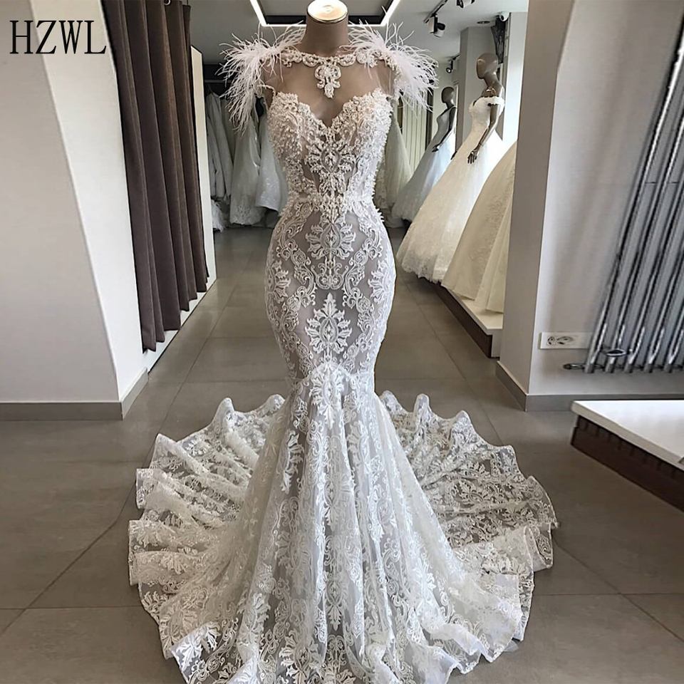Robe De Mariee Luxury Customized Lace Beading Feather Wedding Dresses 2020 Elegant Backless Mermaid Wedding Gowns Bridal Dress Wedding Dresses Aliexpress,How To Choose A Wedding Dress Style