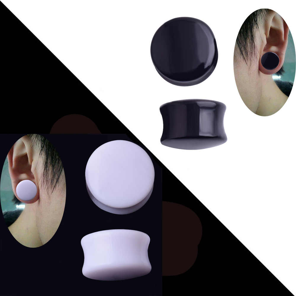 Pair White/&Black Acrylic Ear Tunnel Plug Simple Styles Ear Gauges Piercing Double Curved Saddle Expander Stretcher Body Jewelry,4mm,Black