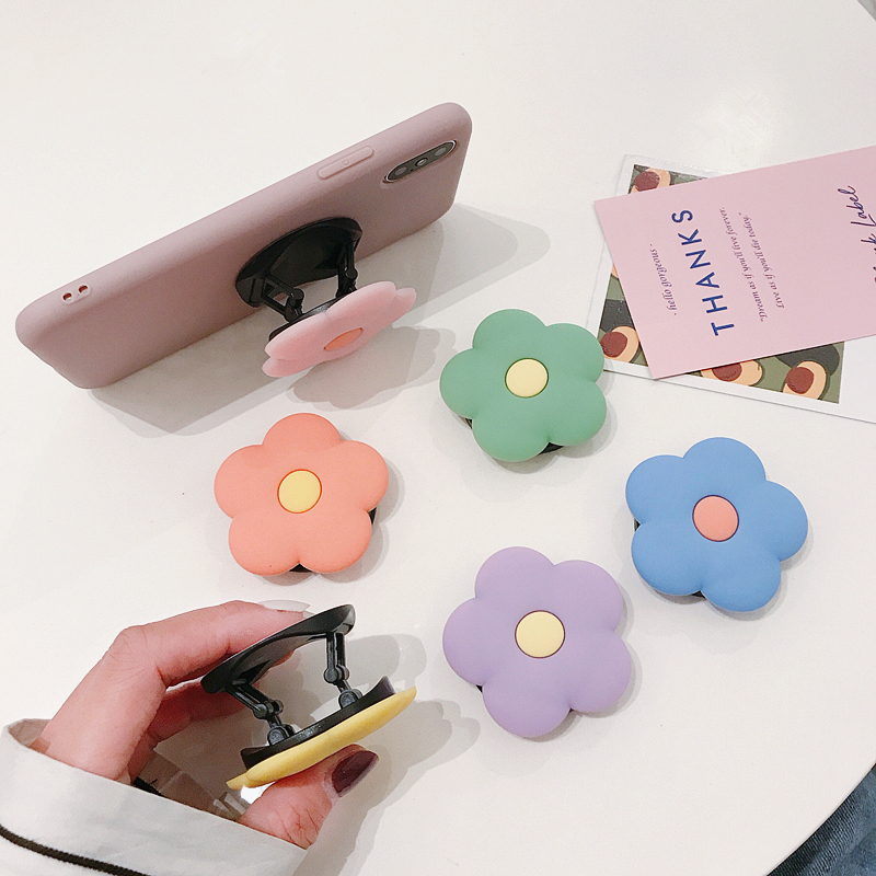 TJHSZKL Cute Flower Pattern Grip Mobile Phone Holder Telescopic Silicone Mobile Phone Holder Bracket For All Mobile Phones