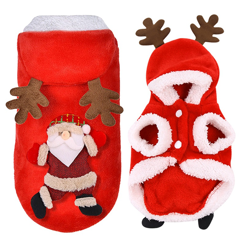 Christmas Dog Clothes Cosplay Winter Santa Elk Coat Clothing Pet Dog Christmas Dress Up Hoodie Jacket Cute Puppy Outfit XS-XXL