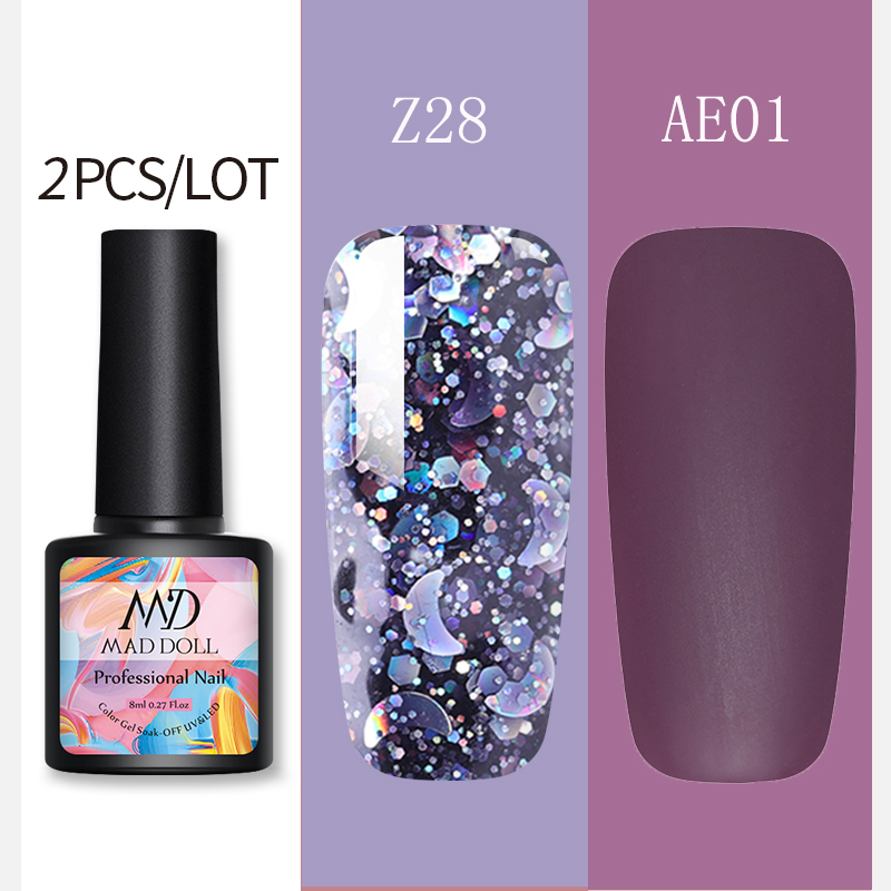 2 Pcs/Lot MAD DOLL 8ml Color Gel Matte Gel Nail Polish Pink Purple Blue Mixed Colors Soak Off UV Gel Nail For Nail Art DIY