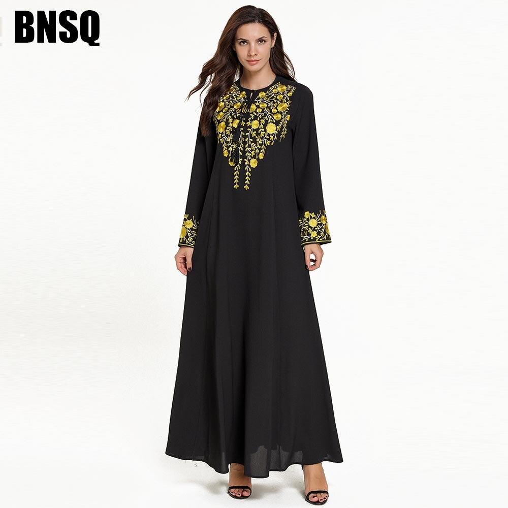 BNSQ élégant islamique noir à manches longues Abaya dubaï robe avec broderie florale d'or haute qualité Ramadam vêtements Maxi M-4XL