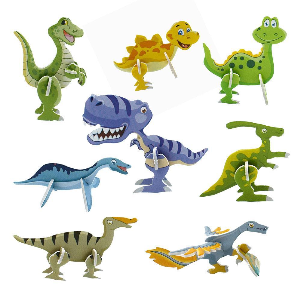 1pc 3D Dinosaur Puzzle Toy Jigsaw Dinosaur Model Paper Card Assembly Preschool Education Toy For Children Kids Random Color