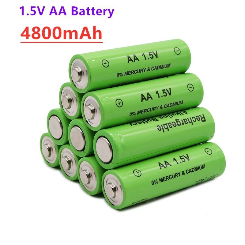 4 ~ 20 шт 1,5 V новый бренд AA перезаряжаемый аккумулятор 4800 мА/ч, 1,5 V Новый Щелочная аккумуляторная батарея, батарея, батарея для Светодиодный све...