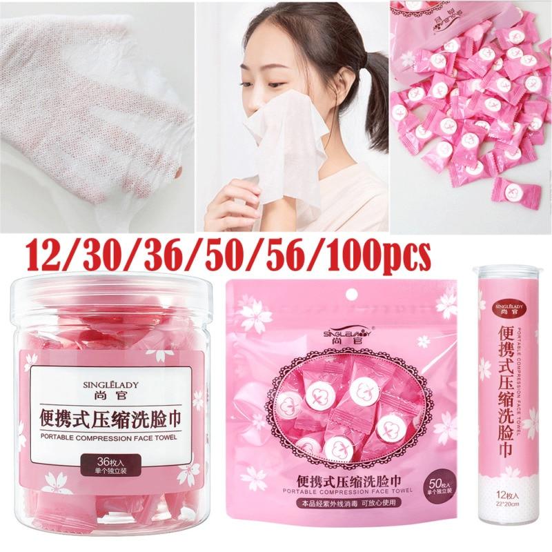 30pcs Magic Compressed Travel Towel Nonwoven Washcloth Disposable Facial Tissue Tablet Portable