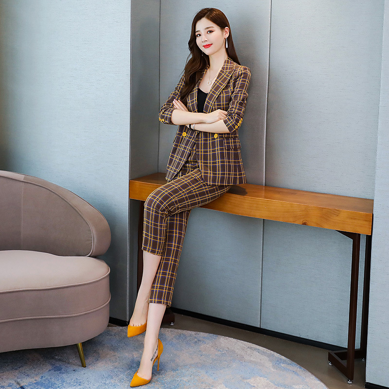 High quality professional women's suits New autumn slim long-sleeved plaid ladies jacket Casual office trouser suit Two-piece 30
