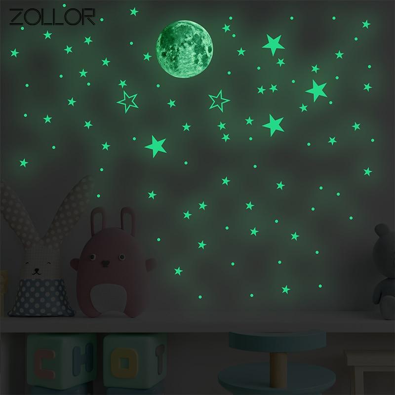 Zollor 127 штук люминесцентных с изображением луны и звезд, DIY декоративный Стикеры комплект дома стены потолок самоклеящиеся настенные наклейк...