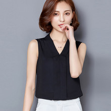 Womens Chiffon Blouse Elegant rief Office Work Wear V Neck Shirts Sleeveless  Casual Tops7.31