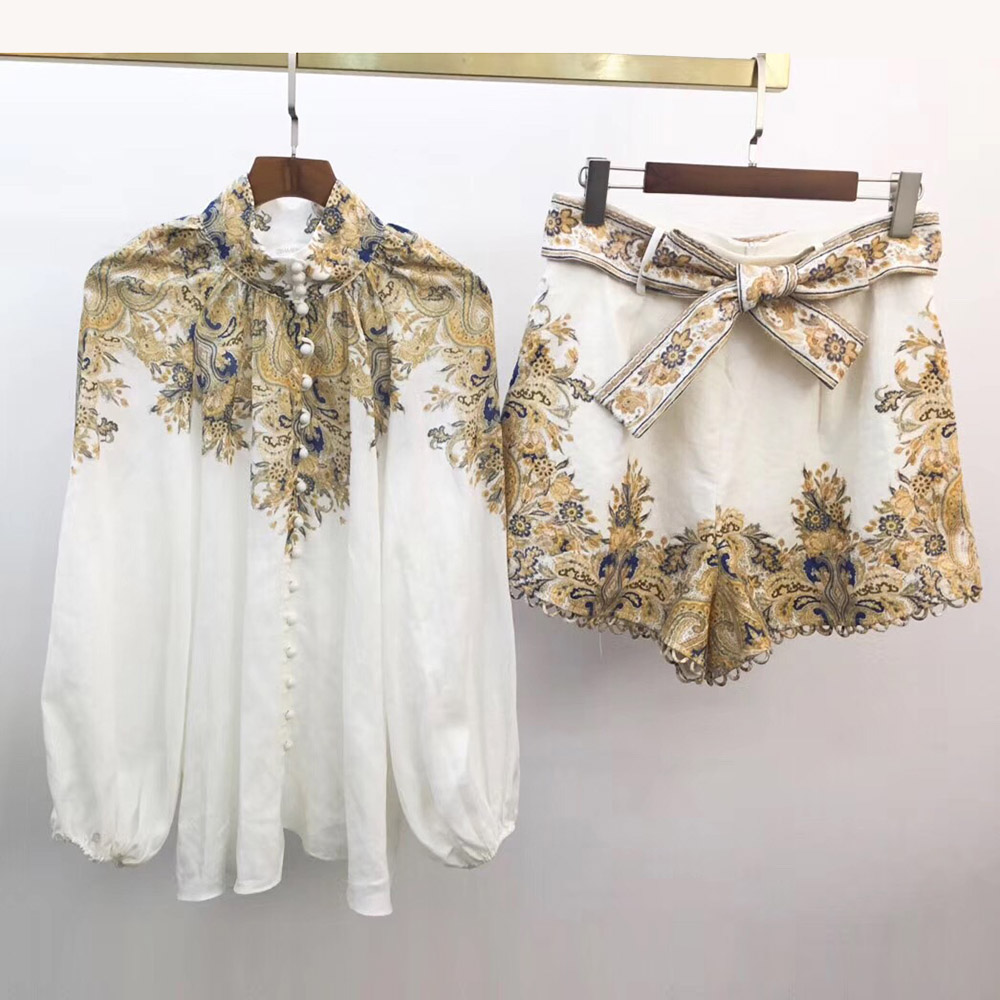 Top Quality Linen Shorts Set 2020 Spring New Hot Sale Holiday Style Lantern Sleeve Blouses Tops And Shorts