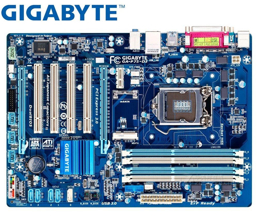Desktop Mainboard LGA 1155 For Intel DDR3 Gigabyte GA-P75-D3 Original Motherboard USB2.0 USB3.0 SATA3 P75-D3 32GB B75 22nm