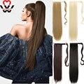 MANWEI женские длинные прямые шиньон конский хвост из натуральных волос на заколках конский хвост наращивание волос обертывание на синтетиче...