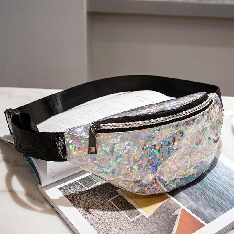 2019 New Flicker Waist Bags Women Candy Color Fanny Pack Female Belt Bag Geometric Waist Packs Laser Chest Phone Pouch Mini Bags