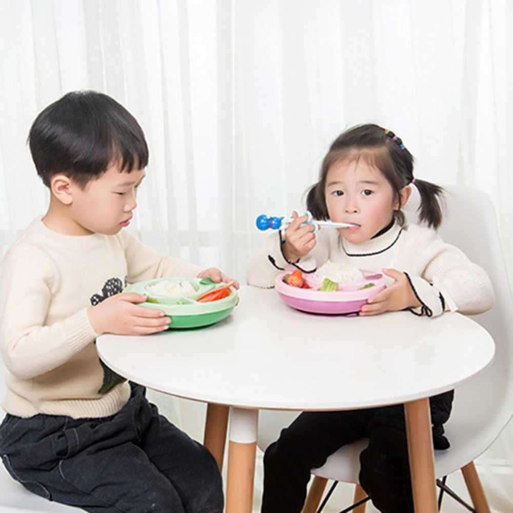 เด็กจานฉนวนกันความร้อนลื่นเด็กดูดชามจานชามอาหารทารกให้อาหารการฝึกอบรมจานเด็ก