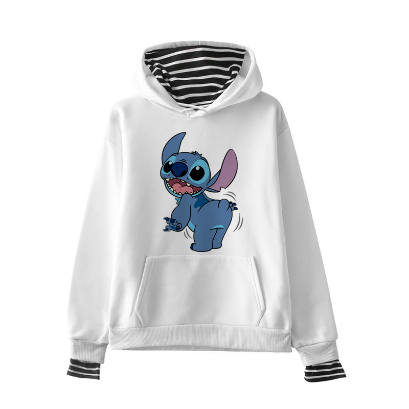 2019 Women Sweatshirts Hoodies Character Printed Casual Pullover LILO STITCH Cute Jumpers Top Long Sleeve O-Neck Fleece Tops XXL