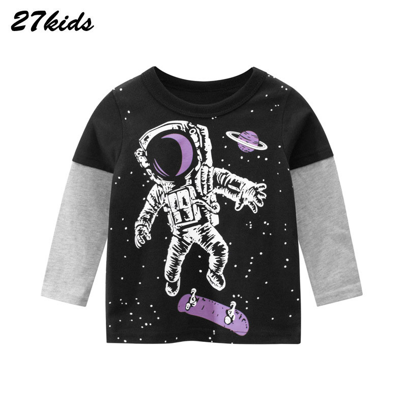 27Kids 2-9Year Cartoon Universe Planet Boys Long Sleeve Tshirt Space Astronaut Pattern Children's Baby Tops Child Kids Clothes